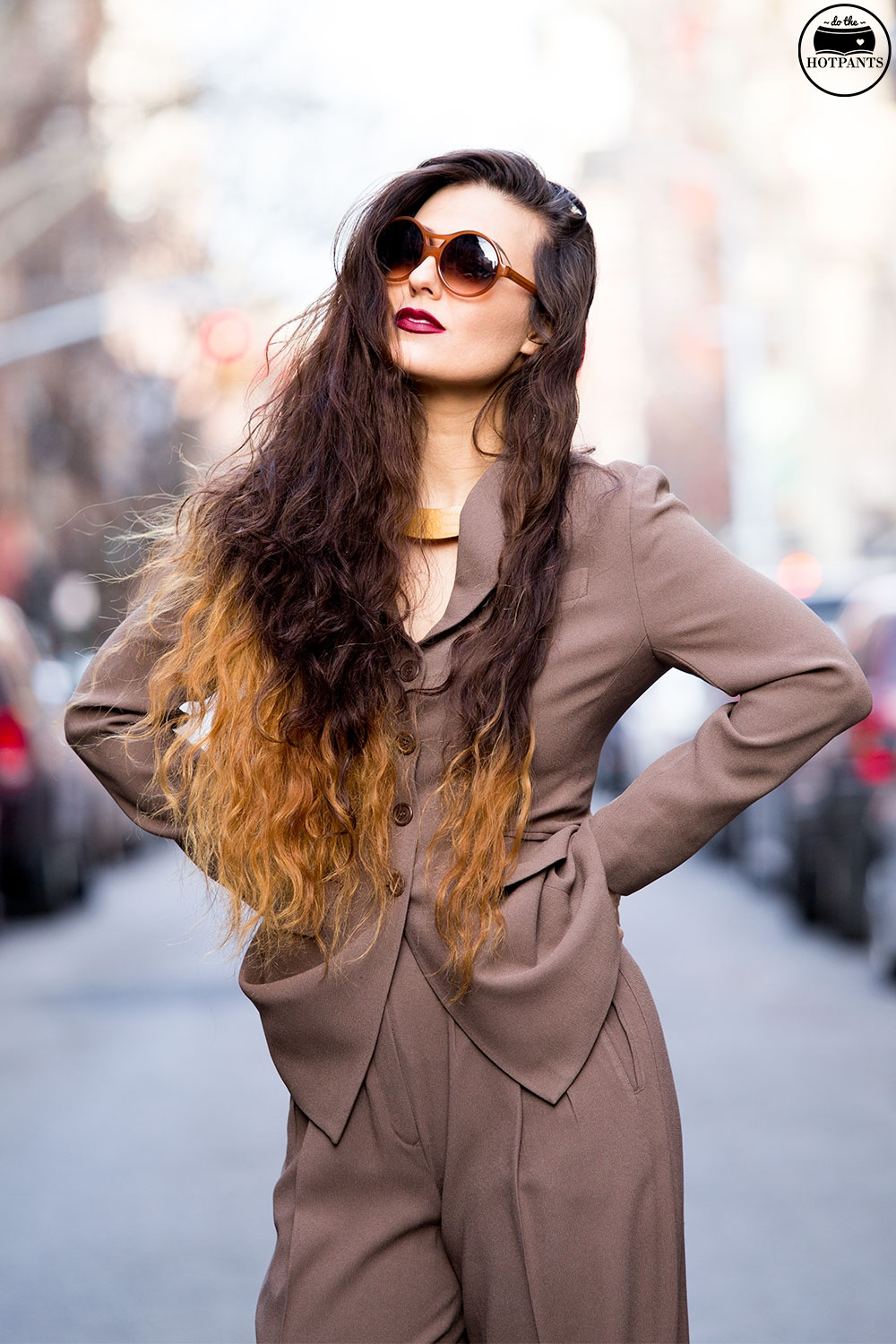 Brown Neutral Taupe Two Piece Suit 80's fashion streetstyle
