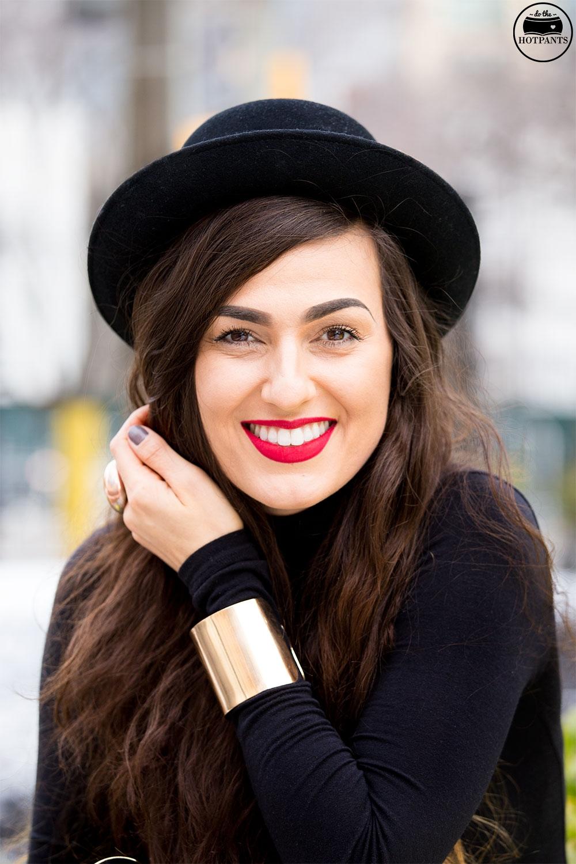 Black Turtleneck Bodycon Bowler Hat Red Lipstick MAC Ruby Woo