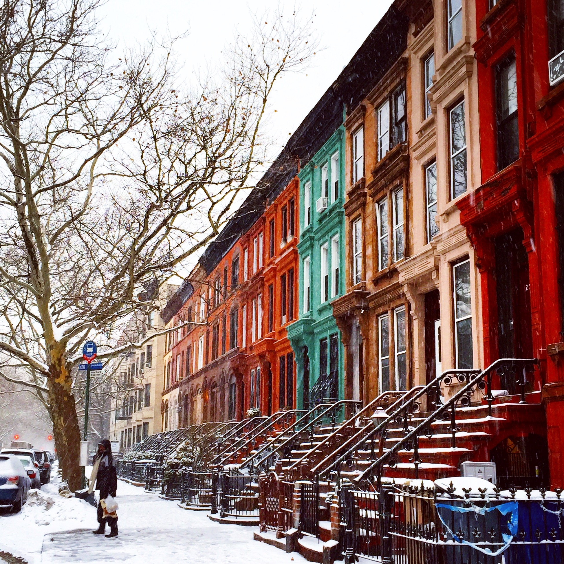 NYC Brooklyn Manhattan New York City Snow Winter Storm Colorful Houses Street Snow