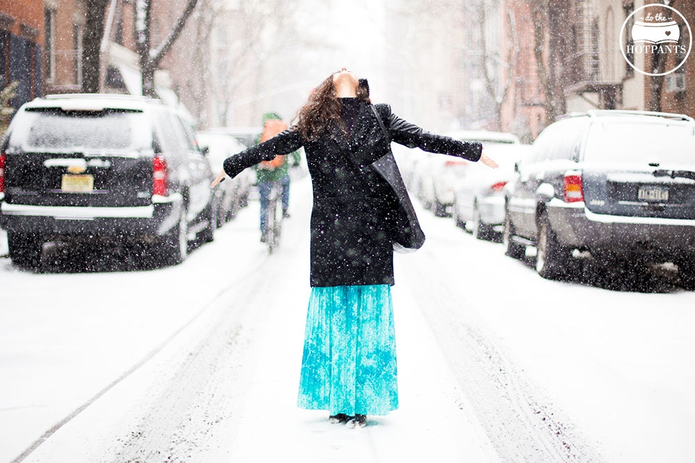 Manhattan Girl Covered In Snow Purple Lipstick Turquoise Green Blue Maxi Skirt Leather Sleeve Jacket