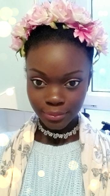 Woman Black Afro Natural Hair Flower Crown Beautiful Woman of Color