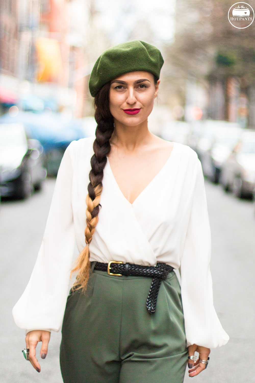 Long Hair Side Braid Green Beret Soldier Style
