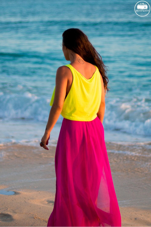 American Apparel Neon Crop Top  Orange Lipstick Tan Curvy Woman