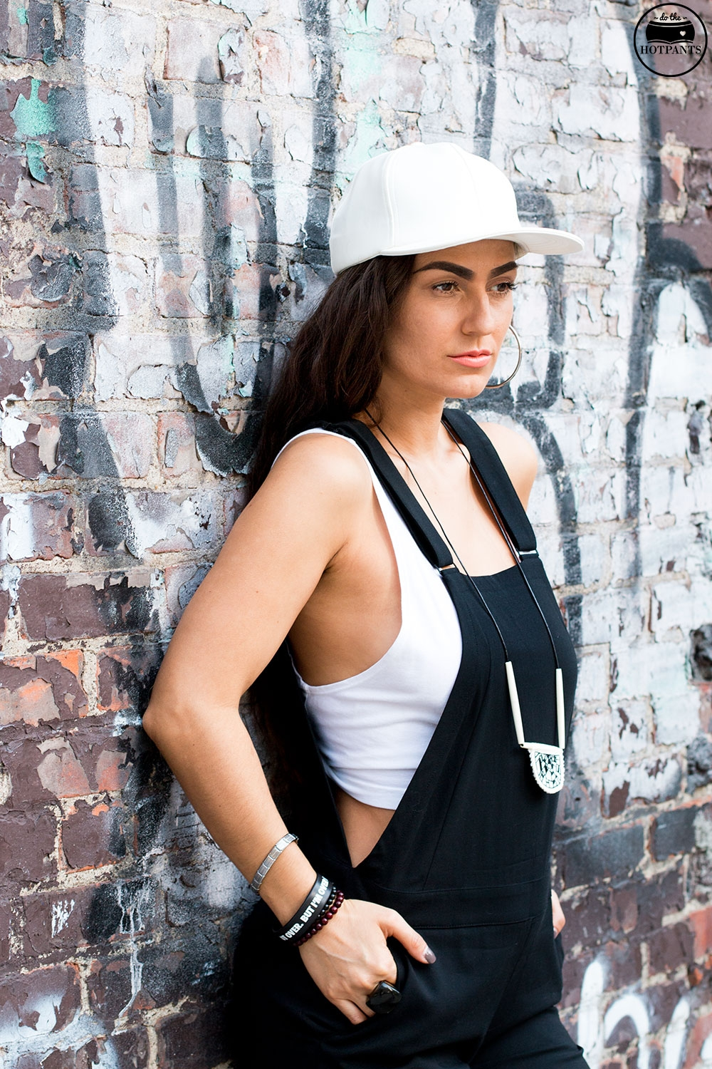 Do The Hotpants Dana Suchow Black Overalls White Leather Hat NYC Summer Streetstyle White Clog Mules IMG_7624