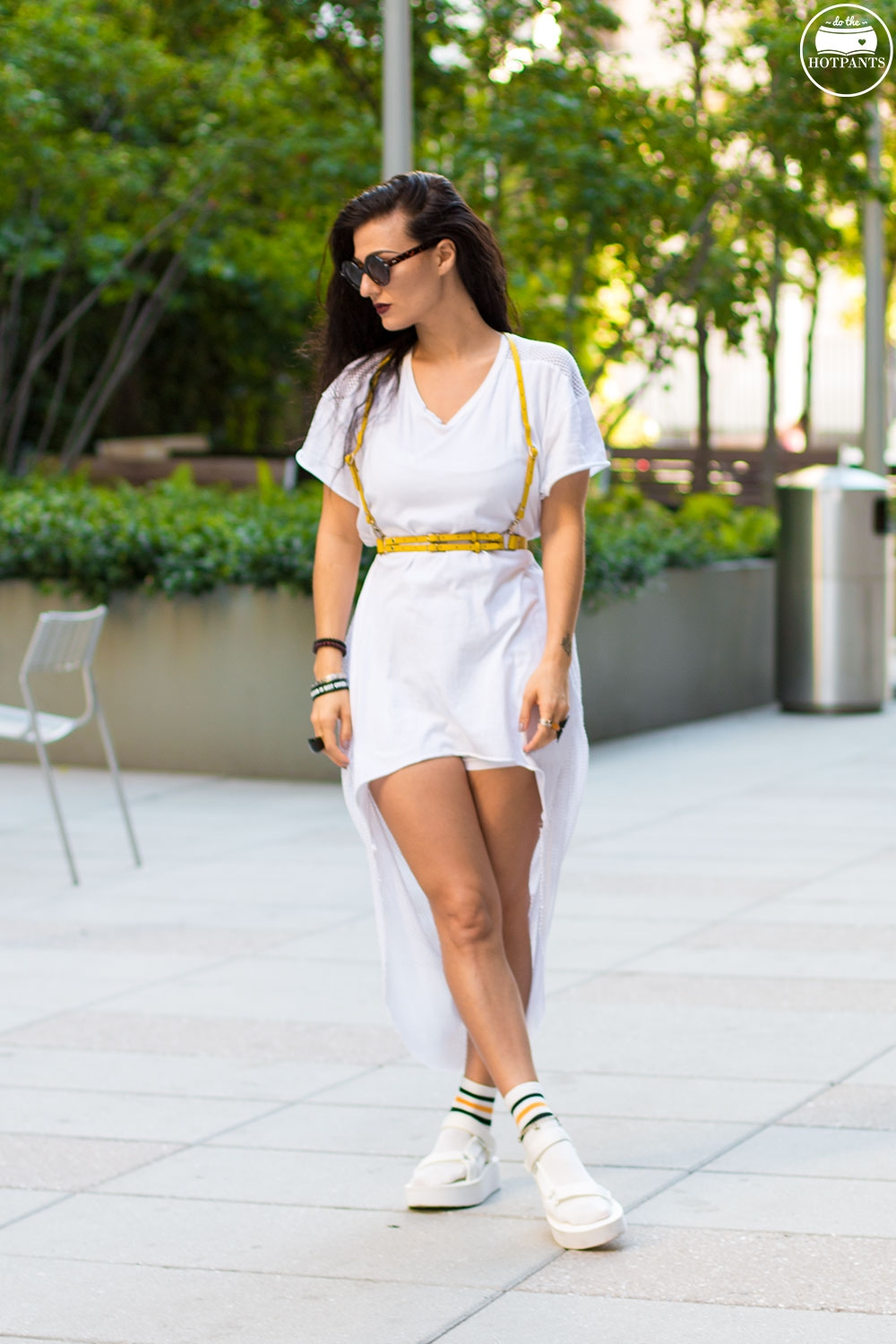 Do The Hotpants Dana Suchow Teva Sandals White Platform Sandals with Socks Fashion Ankle Socks IMG_8444