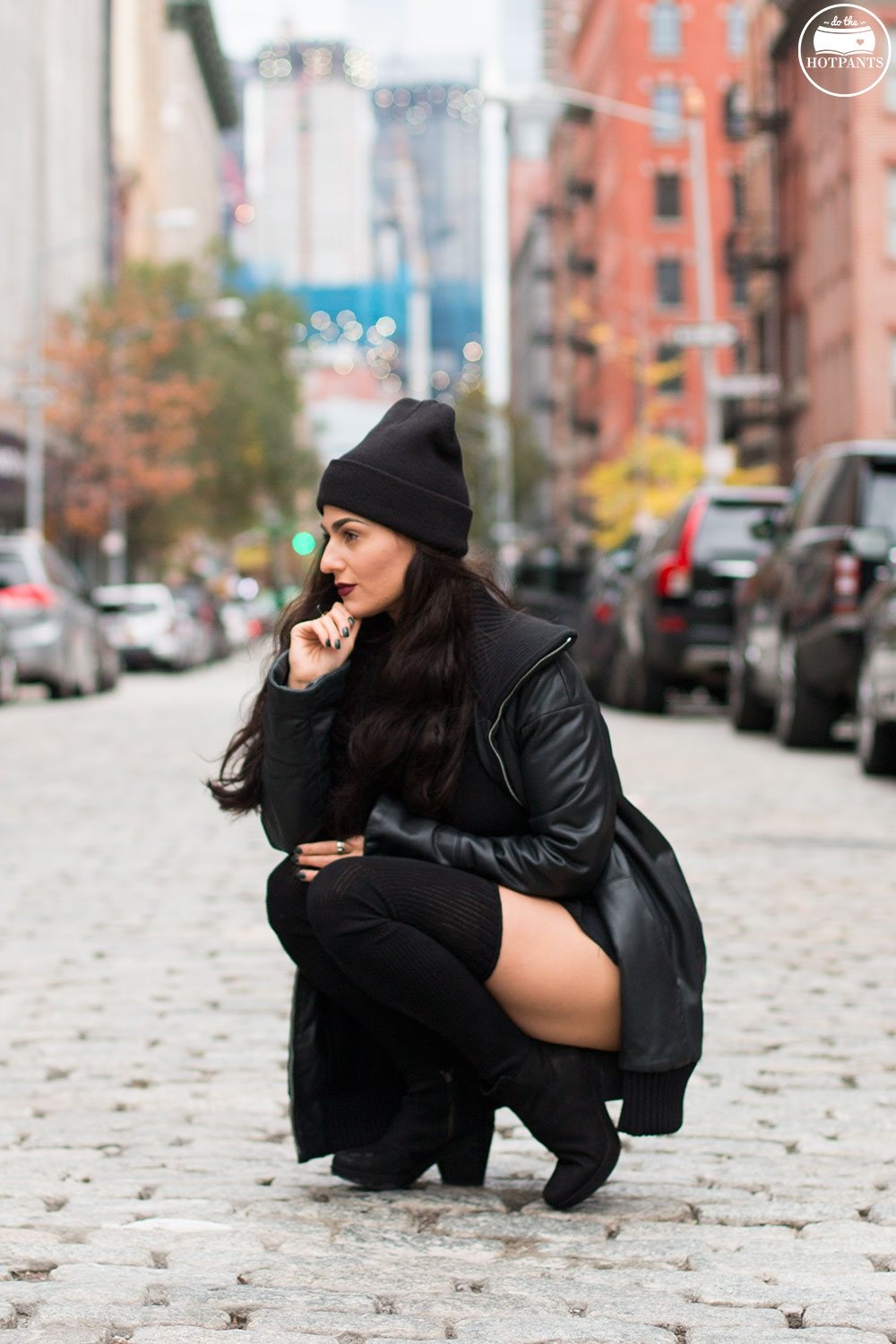 Do The Hotpants Dana Suchow Goth Outfit Black Beanie Thigh High Socks Crop Top Black Leather JacketIMG_5372