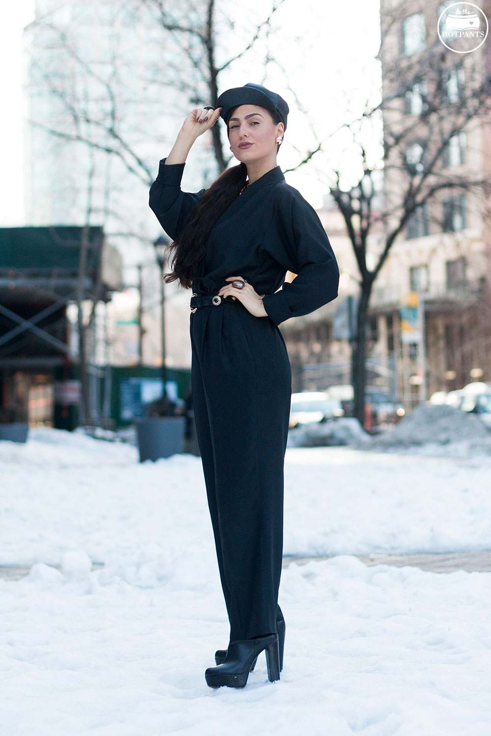 Do The Hotpants Dana Suchow Black Goth Jumpsuit Side Ponytail Leather Hat Winter Fashion Woman in Snow IMG_6314