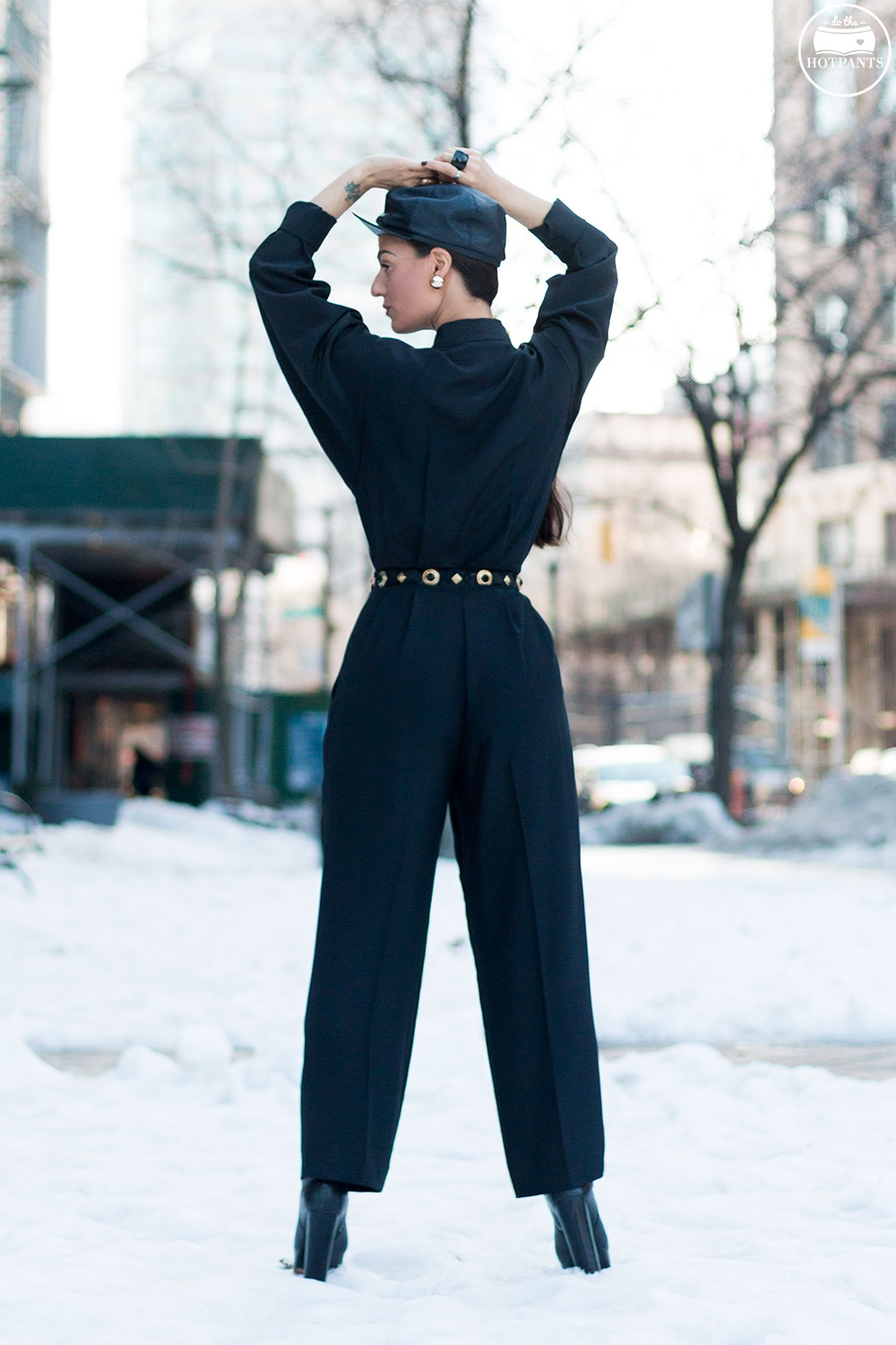 Do The Hotpants Dana Suchow Black Goth Jumpsuit Side Ponytail Leather Hat Winter Fashion Woman in Snow IMG_6324