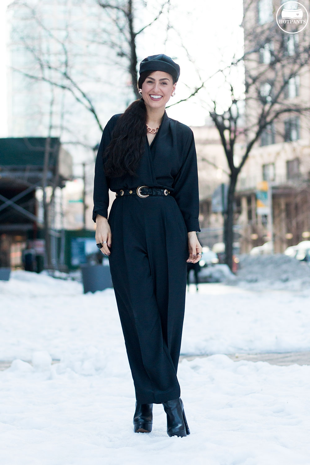 Do The Hotpants Dana Suchow Black Goth Jumpsuit Side Ponytail Leather Hat Winter Fashion Woman in Snow IMG_6343