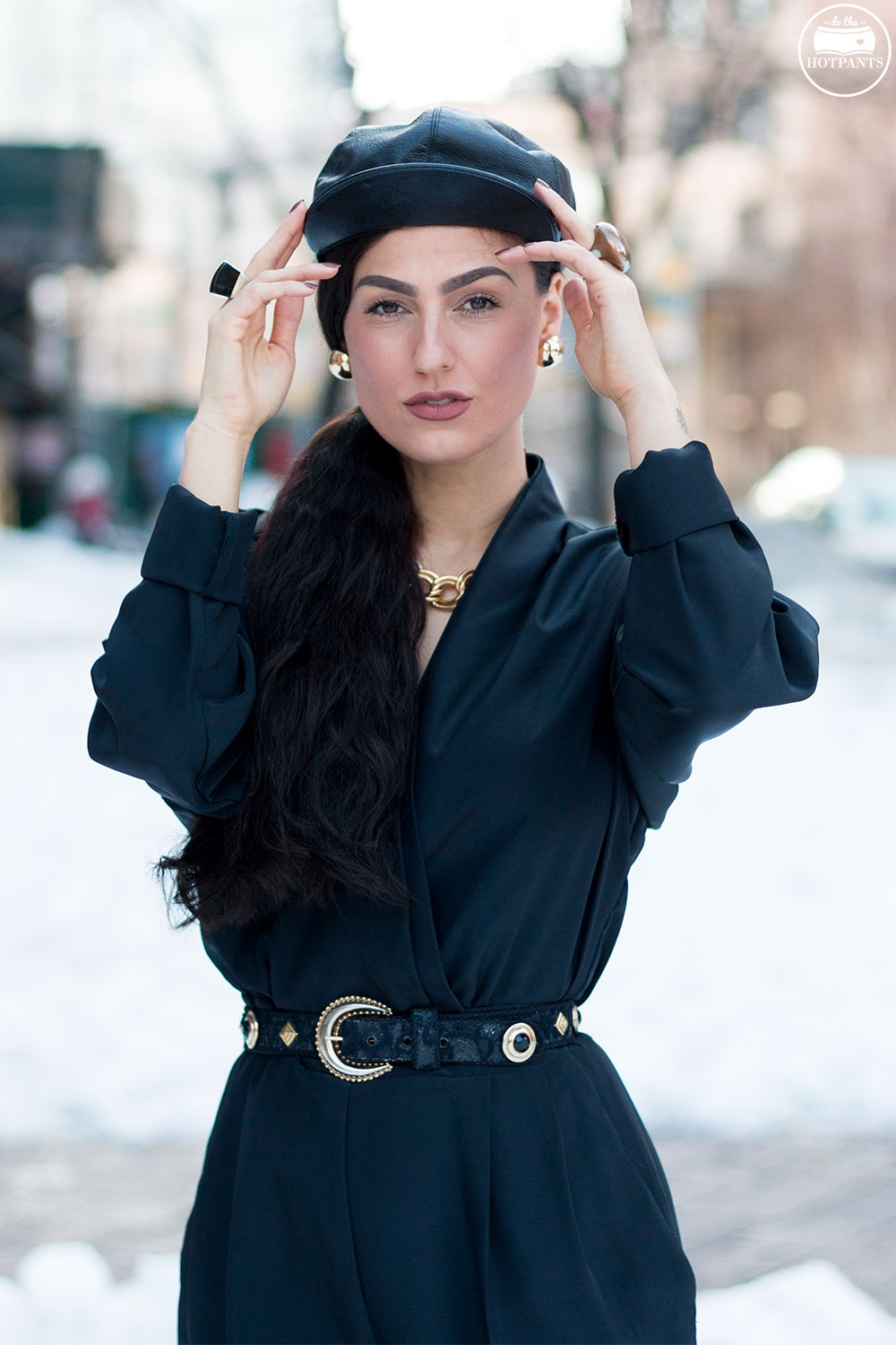 Do The Hotpants Dana Suchow Black Goth Jumpsuit Side Ponytail Leather Hat Winter Fashion Woman in Snow IMG_6408