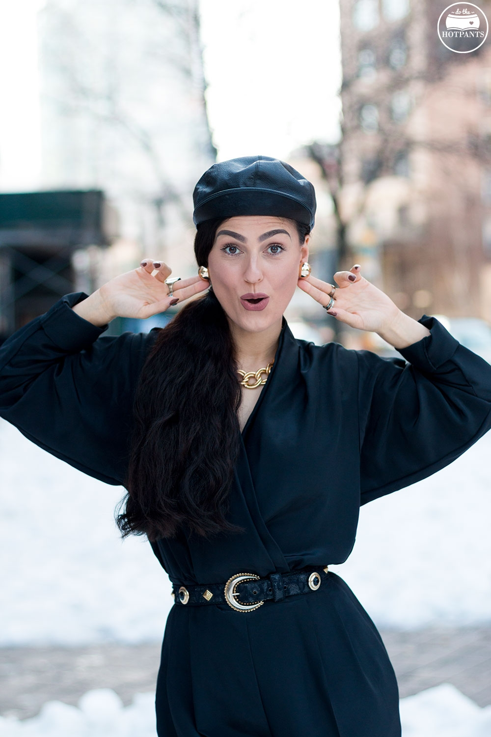 Do The Hotpants Dana Suchow Black Goth Jumpsuit Side Ponytail Leather Hat Winter Fashion Woman in Snow IMG_6437