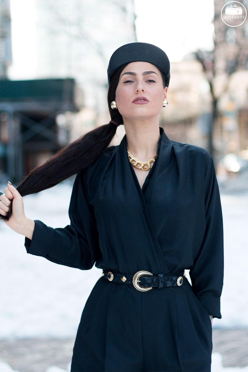 Do The Hotpants Dana Suchow Black Goth Jumpsuit Side Ponytail Leather Hat Winter Fashion Woman in Snow IMG_6471
