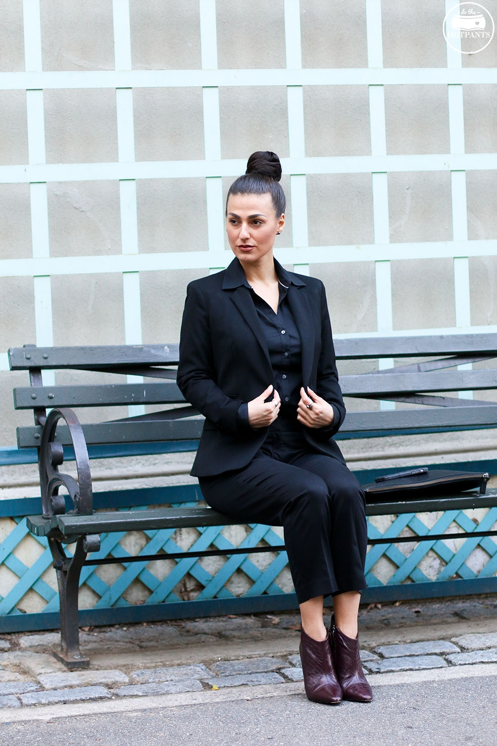 Do The Hotpants Dana Suchow Professional Outfit Interview Suit Woman in Suit Pantsuit Pant Suit Updo Female Business Attire IMG_6194