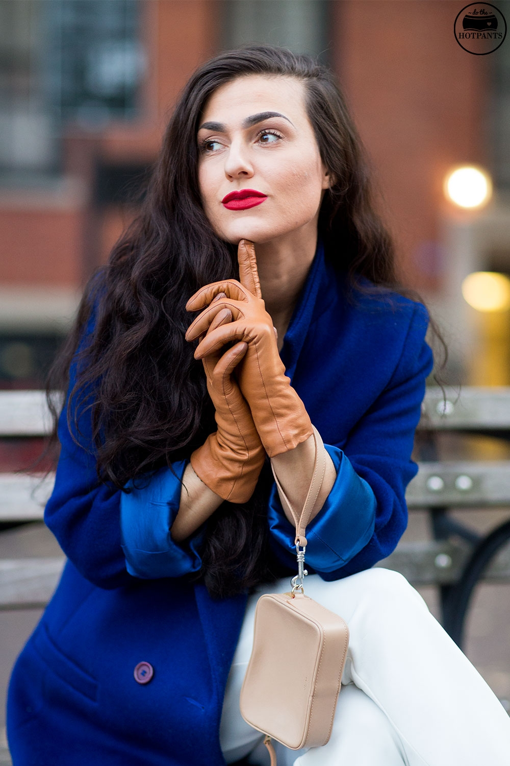 Do The Hotpants Dana Suchow White Jumpsuit Navu Blue Peacoat Trench Coat Jacket Red Lipstick Long Hair Woman MJJ_9817