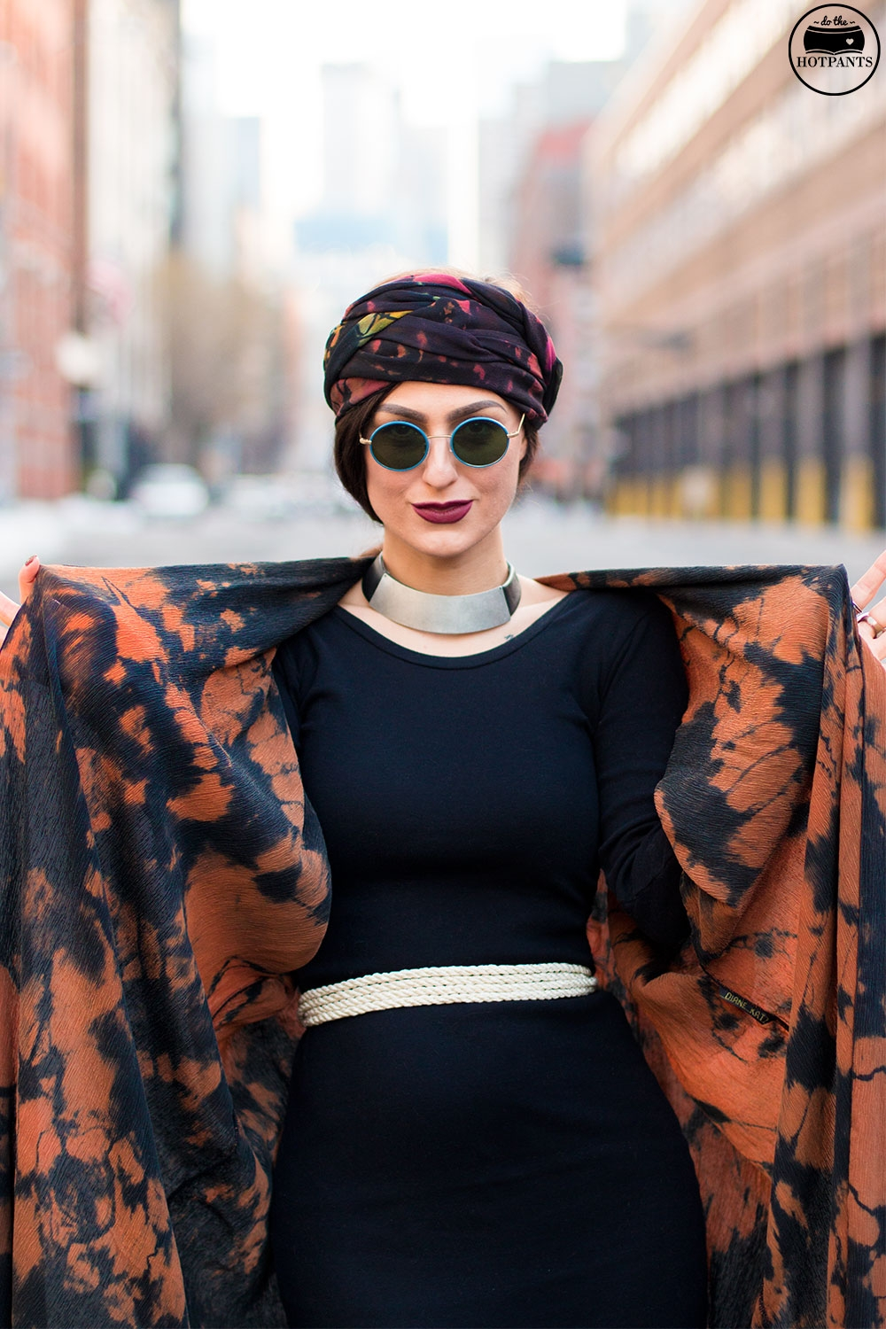 Do The Hotpants Dana Suchow Winter Fashion New York Streetstyle 2016 Tie Dye Hippy Outfit Turban Hijab IMG_6873