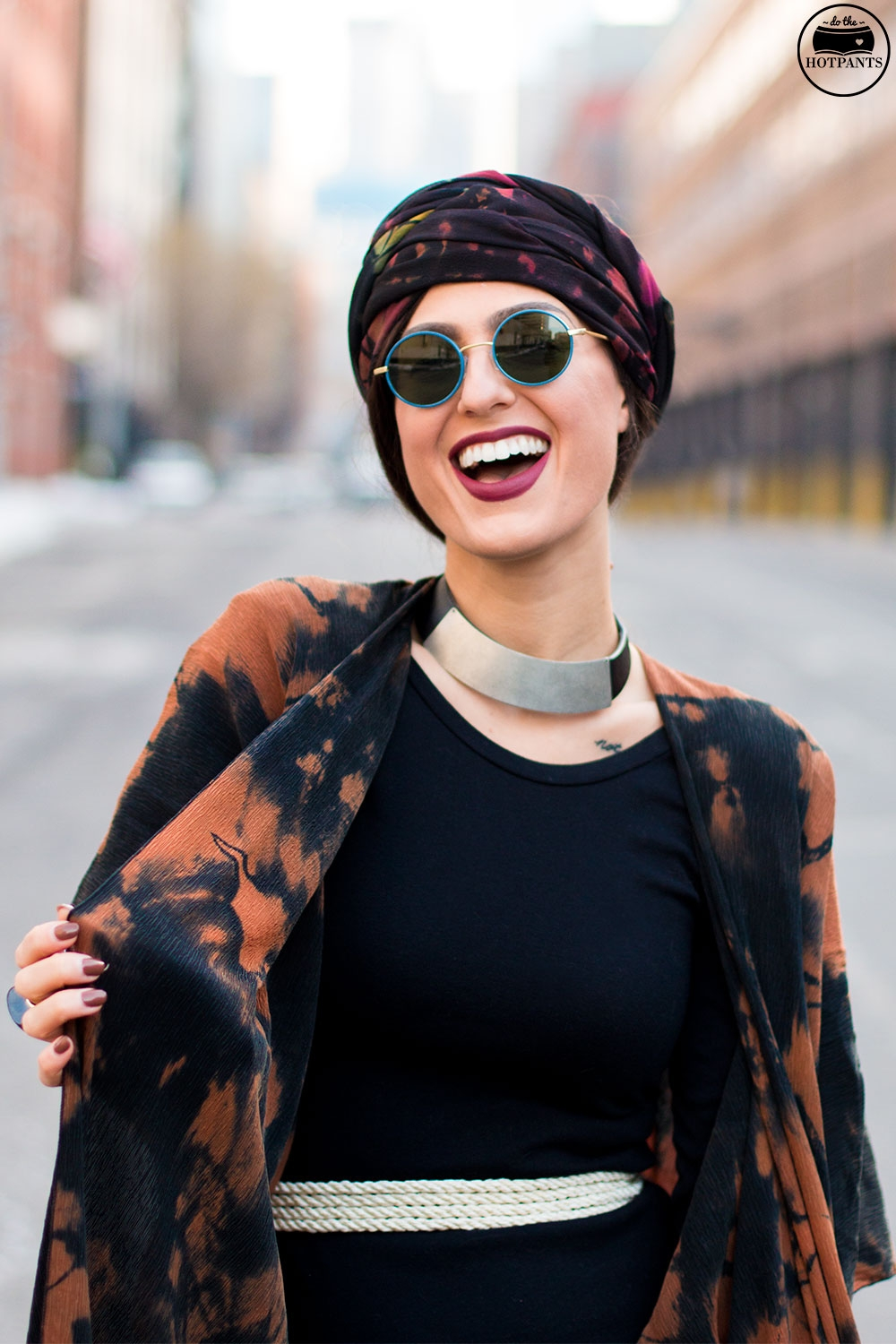 Do The Hotpants Dana Suchow Winter Fashion New York Streetstyle 2016 Tie Dye Hippy Outfit Turban Hijab IMG_6876