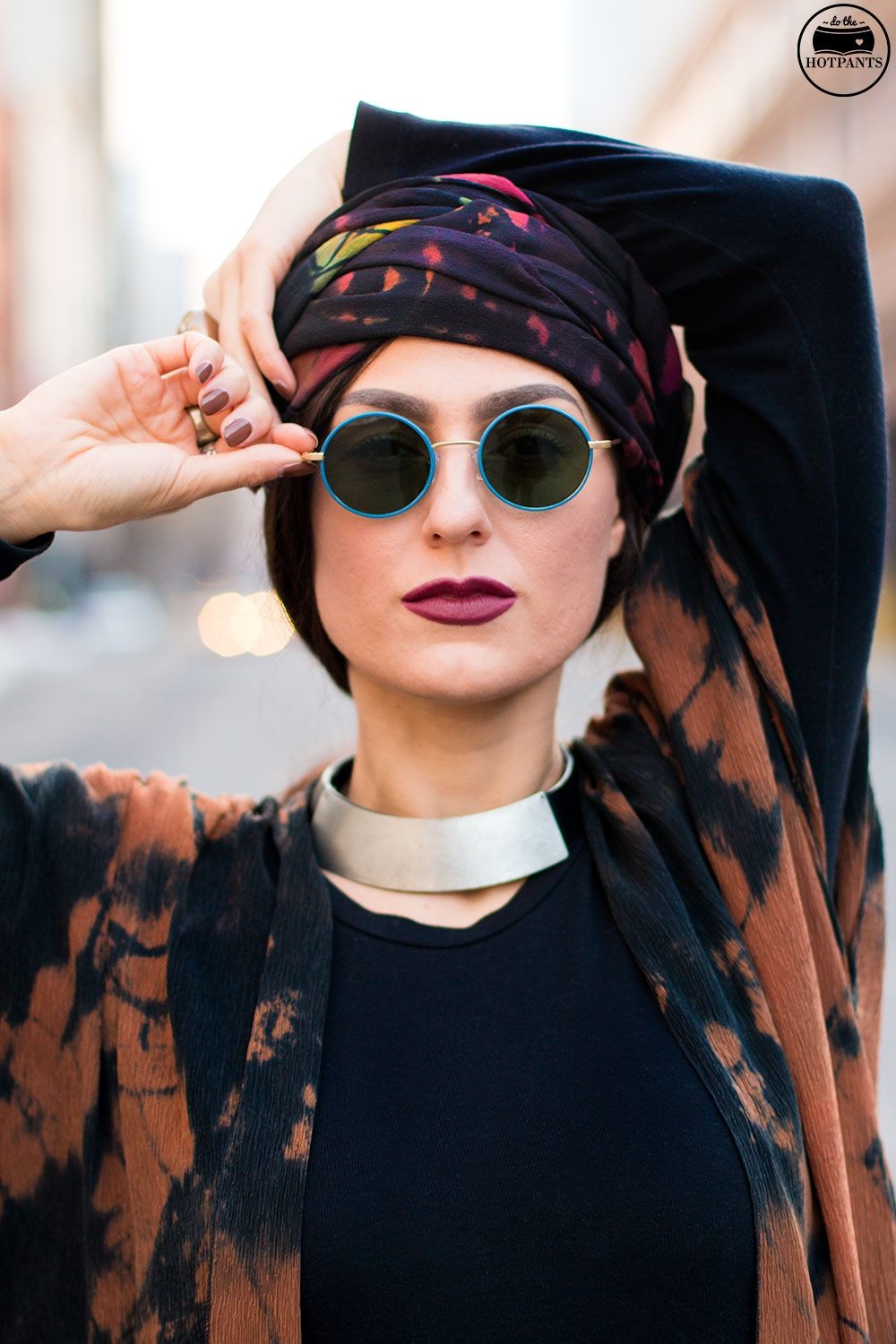 Do The Hotpants Dana Suchow Winter Fashion New York Streetstyle 2016 Tie Dye Hippy Outfit Turban Hijab IMG_6984