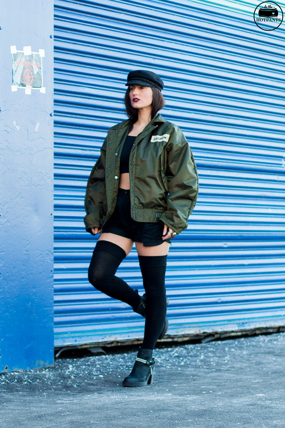Do The Hotpants Dana Suchow Bomber Jacket Crop Top Thigh Highs Curvy Woman NYC Fashion IMG_7978