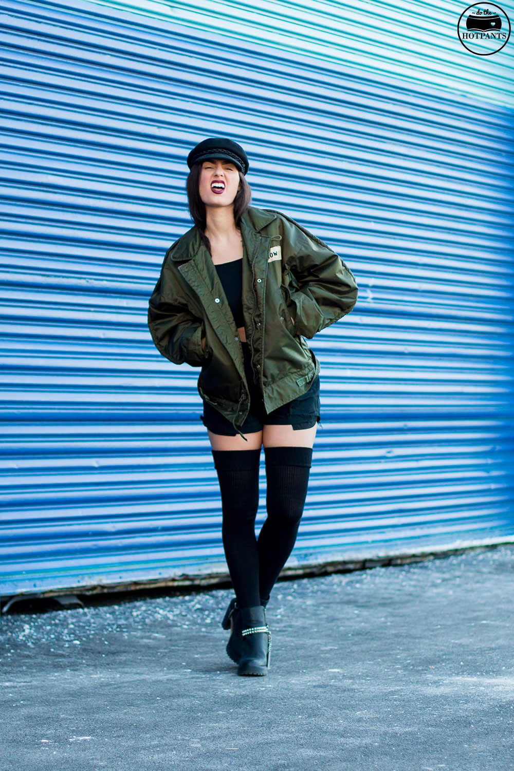 Do The Hotpants Dana Suchow Bomber Jacket Crop Top Thigh Highs Curvy Woman NYC Fashion IMG_8002