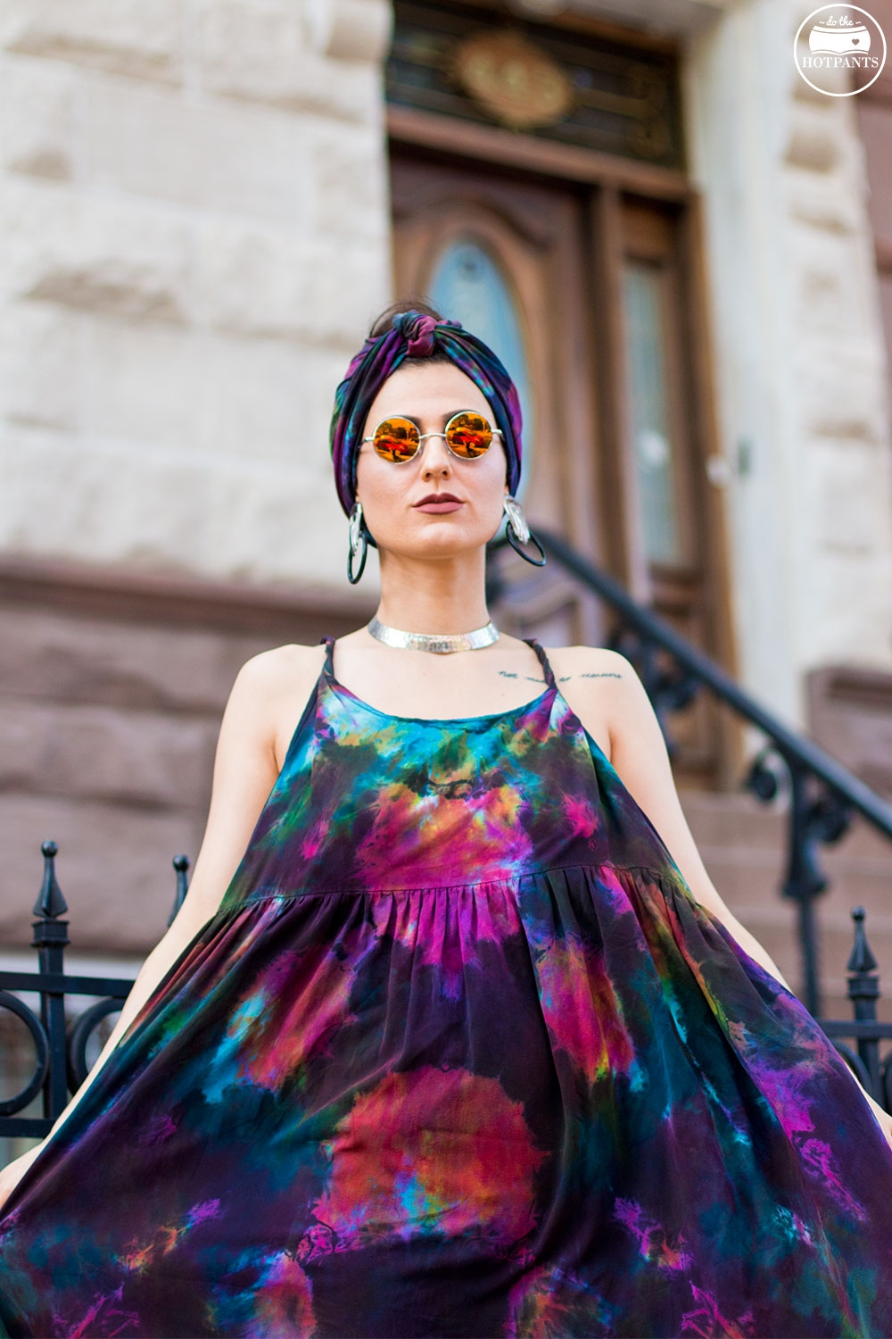 Do The Hotpants Dana Suchow Tie Dye Dress Maxi Flowy Summer Dress Tiedye Headwrap Turban Fashion IMG_0012