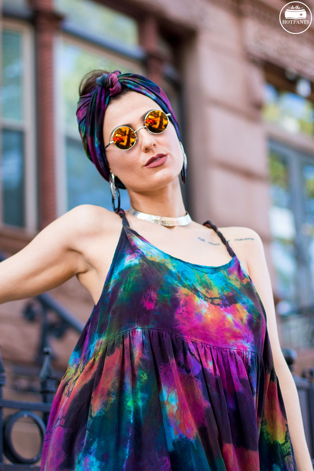 Do The Hotpants Dana Suchow Tie Dye Dress Maxi Flowy Summer Dress Tiedye Headwrap Turban Fashion IMG_0070