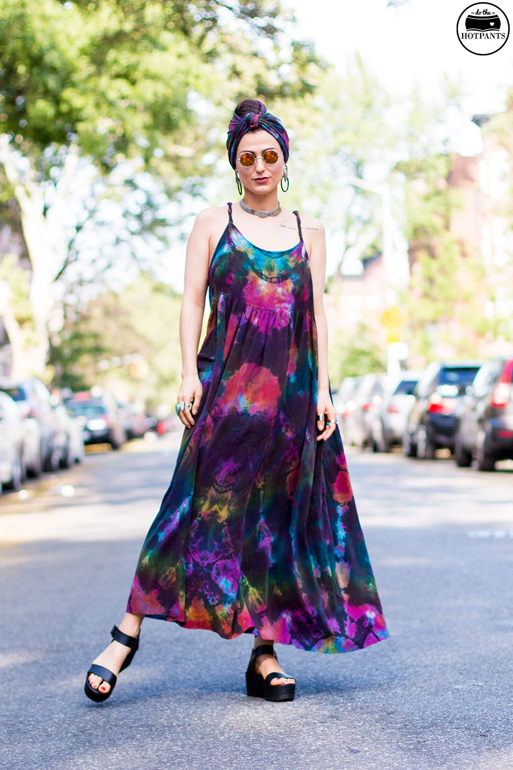 Do The Hotpants Dana Suchow Tie Dye Dress Maxi Flowy Summer Dress Tiedye Headwrap Turban Fashion IMG_9631