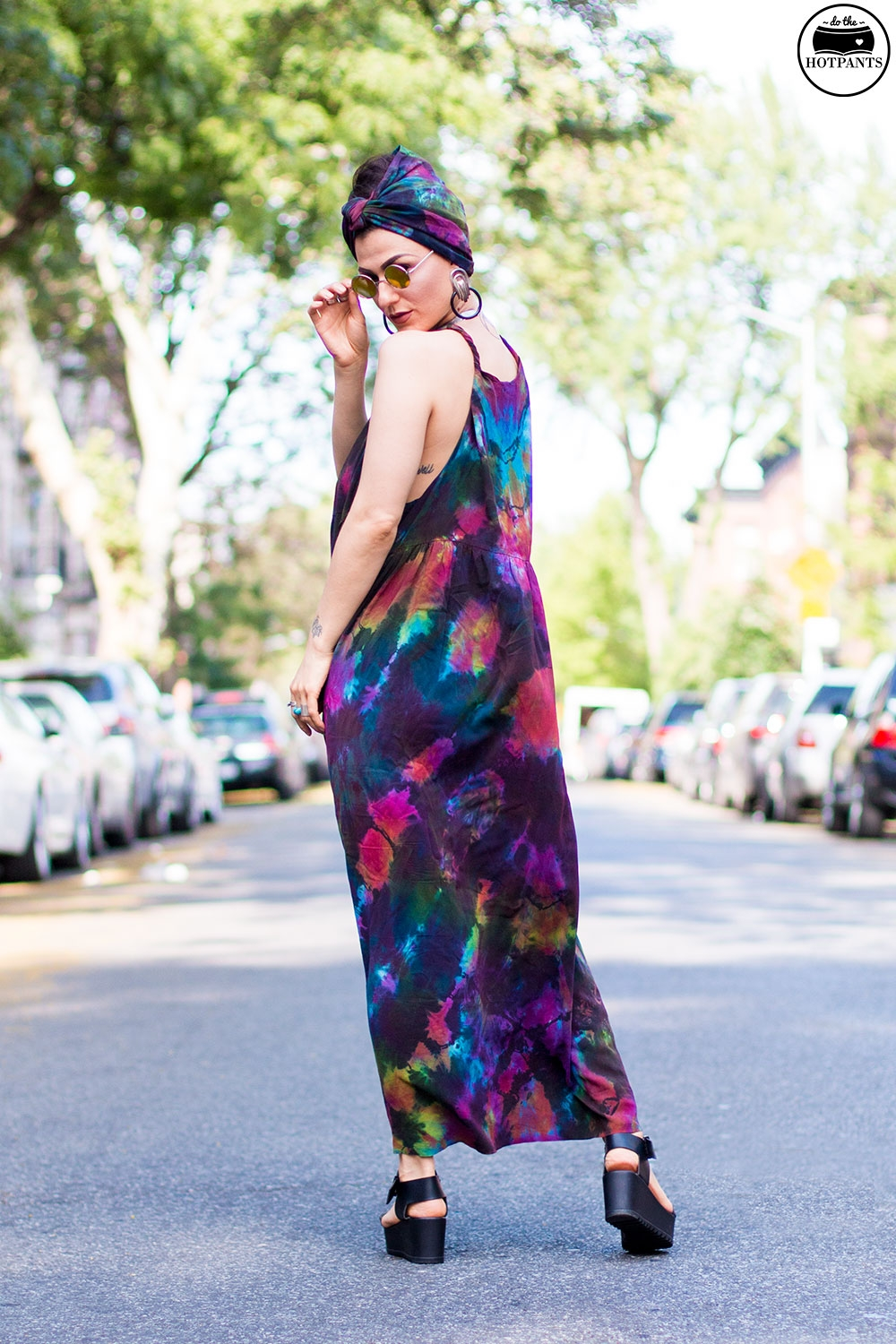 Do The Hotpants Dana Suchow Tie Dye Dress Maxi Flowy Summer Dress Tiedye Headwrap Turban Fashion IMG_9655