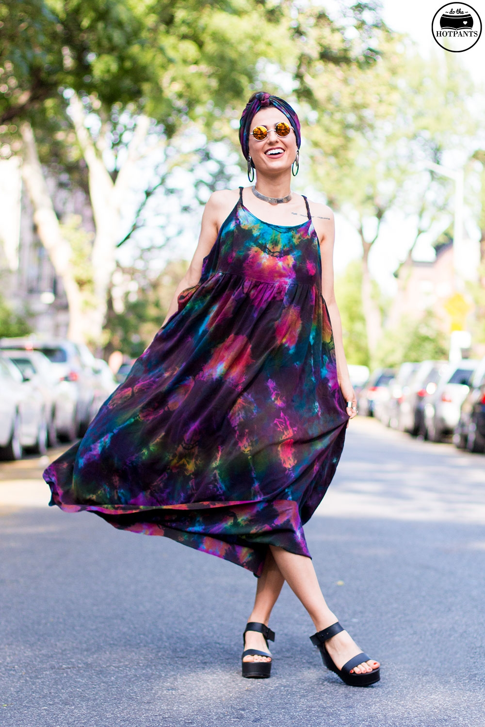 Do The Hotpants Dana Suchow Tie Dye Dress Maxi Flowy Summer Dress Tiedye Headwrap Turban Fashion IMG_9713