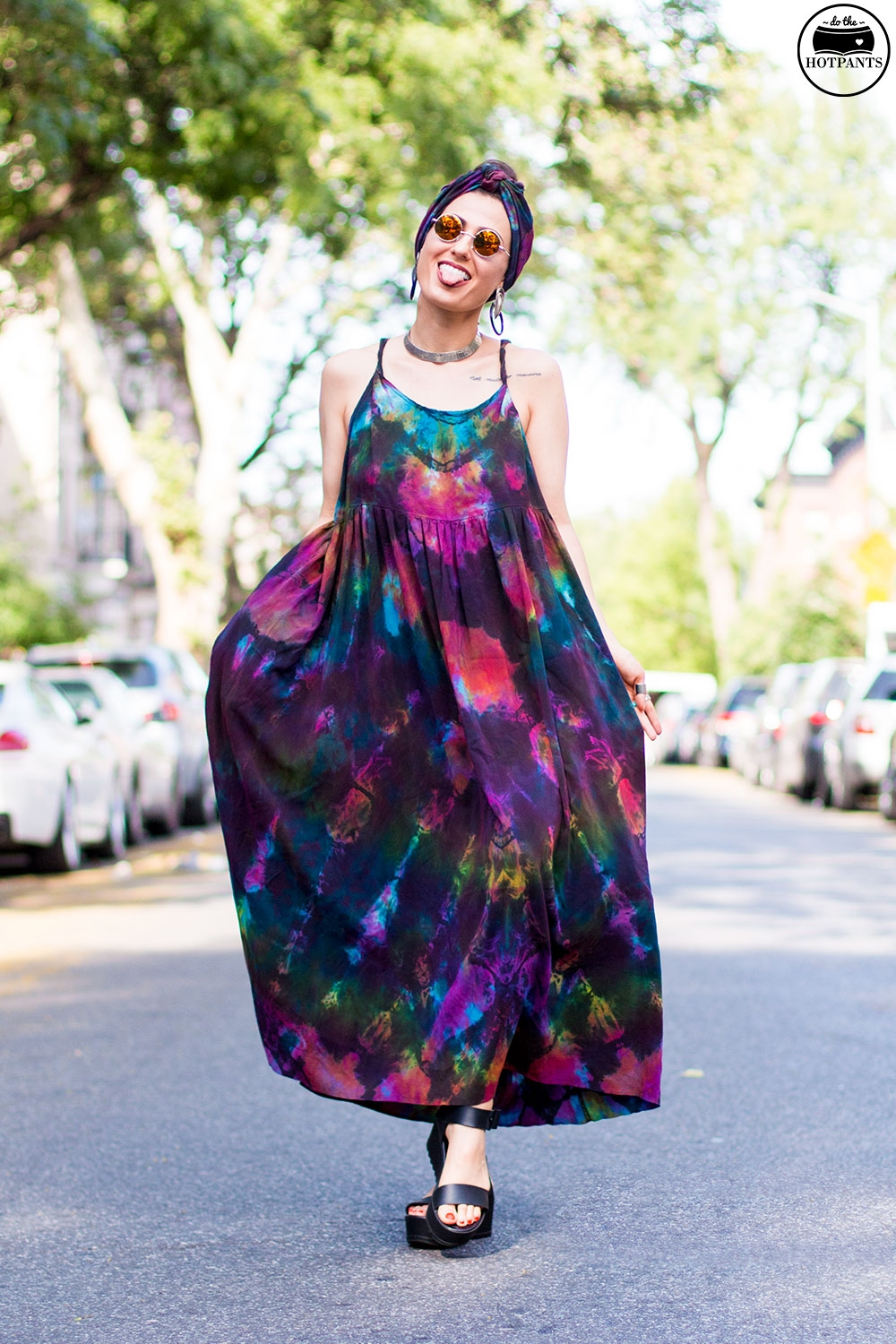 Do The Hotpants Dana Suchow Tie Dye Dress Maxi Flowy Summer Dress Tiedye Headwrap Turban Fashion IMG_9721