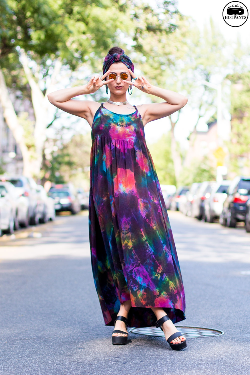 Do The Hotpants Dana Suchow Tie Dye Dress Maxi Flowy Summer Dress Tiedye Headwrap Turban Fashion IMG_9730