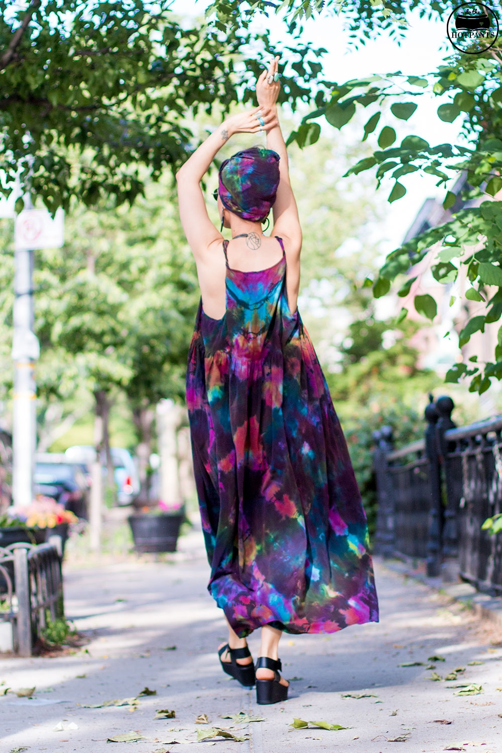 Do The Hotpants Dana Suchow Tie Dye Dress Maxi Flowy Summer Dress Tiedye Headwrap Turban Fashion IMG_9902
