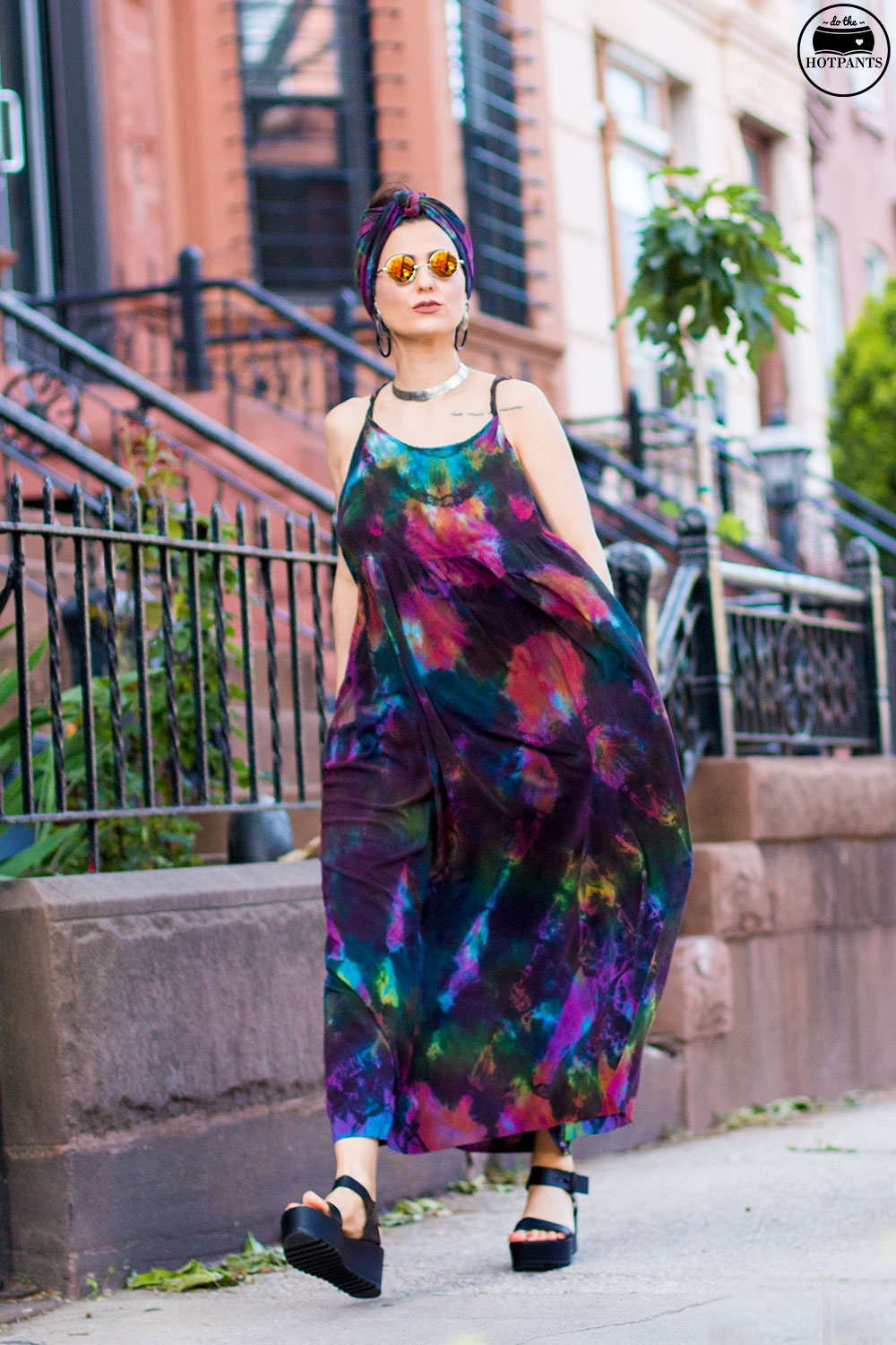 Do The Hotpants Dana Suchow Tie Dye Dress Maxi Flowy Summer Dress Tiedye Headwrap Turban Fashion IMG_9972