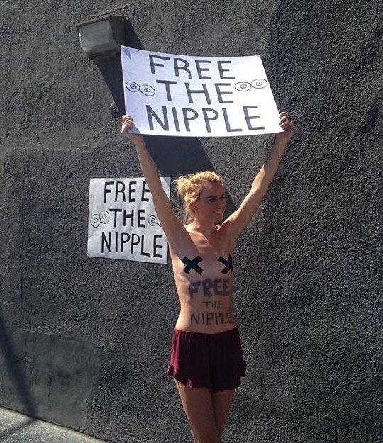 Free The Nipple Feminism Topless Women Protesting Feminist Feel The Bern Bernie Sanders 3